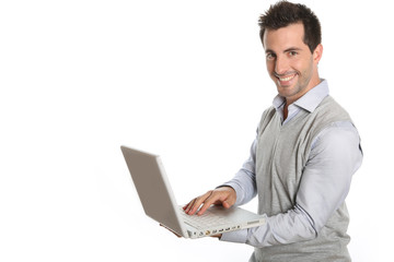 Cheerful man using laptop, isolated