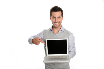 Successful man showing laptop screen to camera