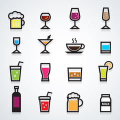 drink icons set color