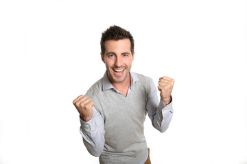 Portrait of successful man showing satisfaction
