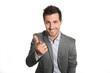 Cheerful businessman doing business presentation