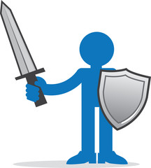 Blue figure holding sword and shield