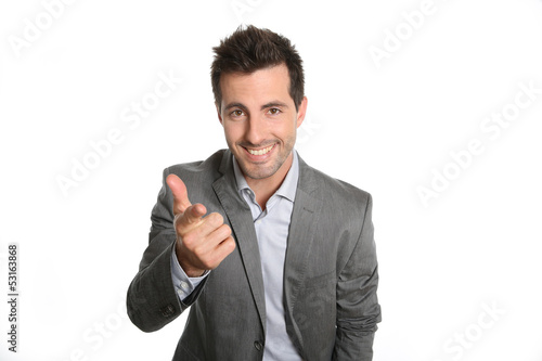 Cheerful businessman doing business presentation