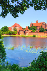 Malbork castle in summer scenery, Poland