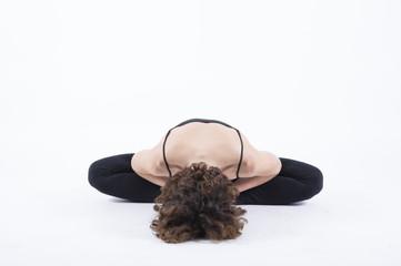 yoga baddha konasana bound angle seat full pose front view