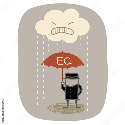 businessman use EQ umbrella to protect from angry rain