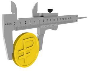 Штангенциркуль измеряет монету с символом российского рубля