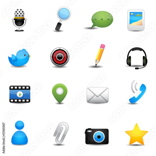 Chat application and social media icons