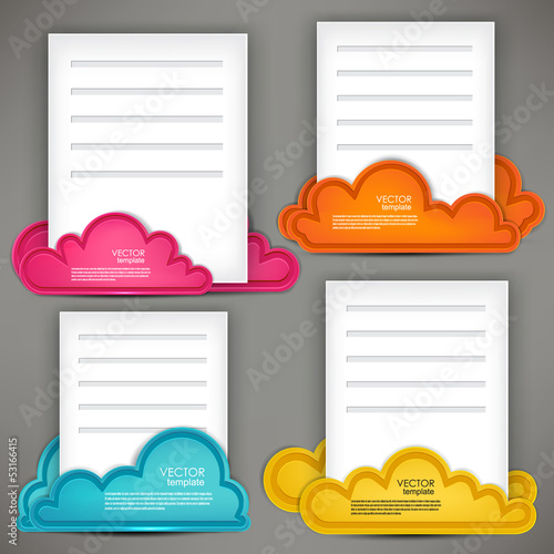 Empty paper sheet with colorful speech bubbles