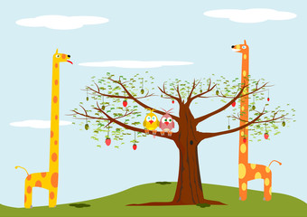 Cartoon background with animals and tree.