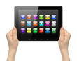 Woman hands holding tablet PC with icons on white background .