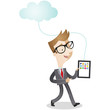 Businessman, cloud computing, walking, tablet
