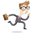 Businessman, running, busy, eager, briefcase