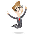 Businessman, jumping, happy, successful, smiling