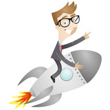 Businessman, rocket, spaceship, start-up, success