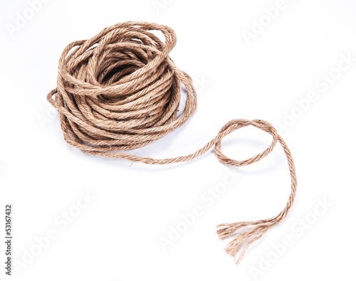 small rope coiled on white background