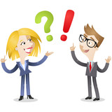 Business people, FAQ, question mark, exclamation point