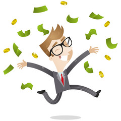 Businessman, winner, money, jumping, joyful, pay raise