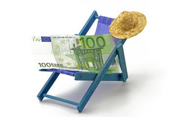 euro auf sonnenliege