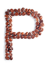 Letter P from coffee beans