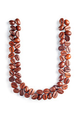 Letter U from coffee beans