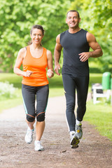 Sport couple running