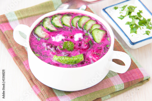 Traditional cold Lithuanian summery soup made of beets, cucumber