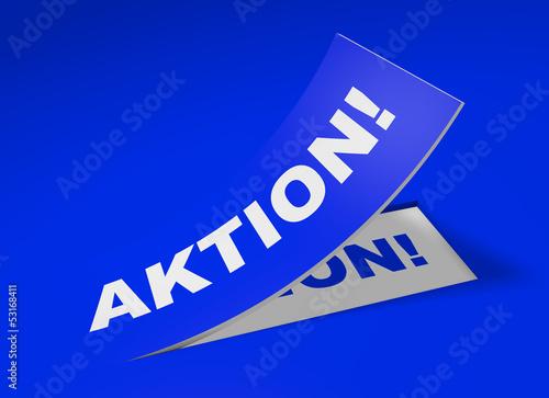 3D Etikett Blau - Aktion