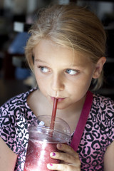 Girl drinking smoothie