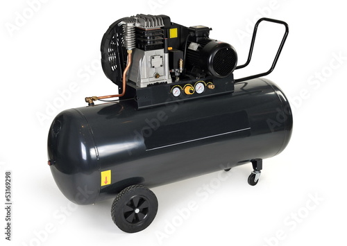 Black compressor isolated on a white background.