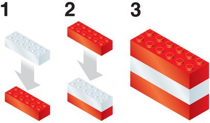 Building blocks making Austrian flag