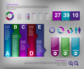 Post note papert and infographic element