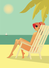 Woman in the chear on the beach. Vector