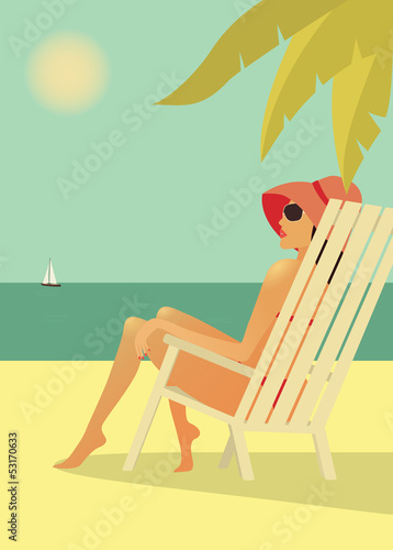Woman in the chear on the beach. Vector