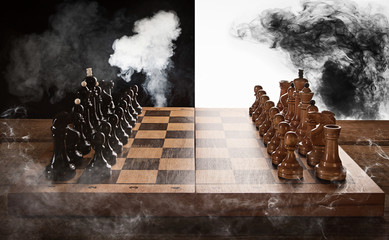 Chess battle black and white