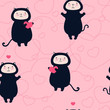 Valentine cats with hearts seamless pattern