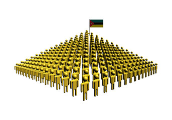 Pyramid of abstract people with Mozambique flag illustration