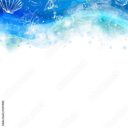 Vector Illustration of an Abstract Background with Seashells