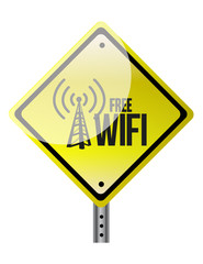 free wifi yellow diamond sign illustration design