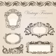 Vintage vector frames border. Retro wedding invitation template