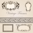 Vintage vector frames with border. Retro design template.