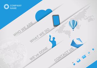 Website corporative design template. Tablet pc interface.