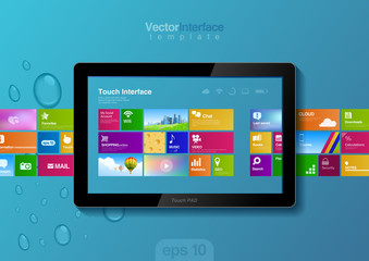Website design template. Tablet pc interface. Touch pad buttons