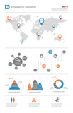 detailed infographic elements set with world map graphics and ch