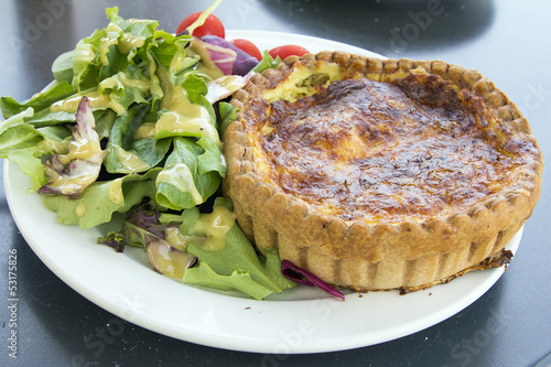 Quiche Lorraine Pastry with Salad Closeup
