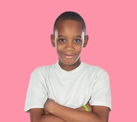 Smiling african adolescent with a happy gesture
