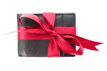 Gift - men's wallet with red ribbon