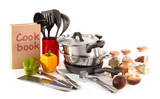 Fototapety composition of kitchen tools,spices and vegetables isolated