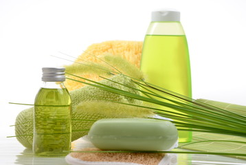 Wellness Grün Gras Öl Selfe Schwamm