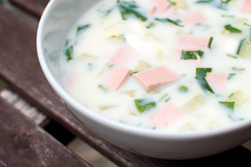 Traditional russian cold soup okroshka